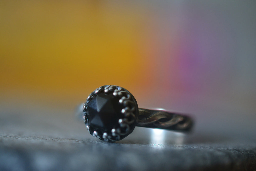 Gothic Black Onyx Ring in Oxidised Sterling Silver