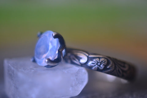 Gothic Flower Blue Moon Quartz Engagement Ring in Silver
