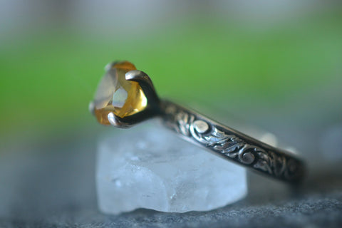 Gothic Citrine Engagement Ring in Oxidised Sterling Silver
