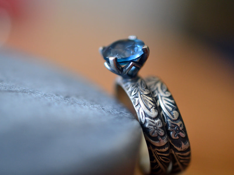 Gothic Floral London Blue Topaz Bridal Ring Set