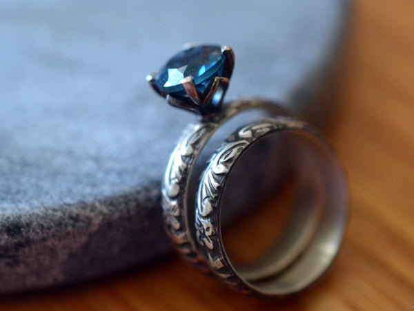 Women's London Blue Topaz Wedding Ring Set Oxidised Finish