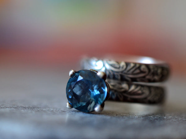 London Blue Topaz Wedding Ring Set in Oxidised Floral Silver