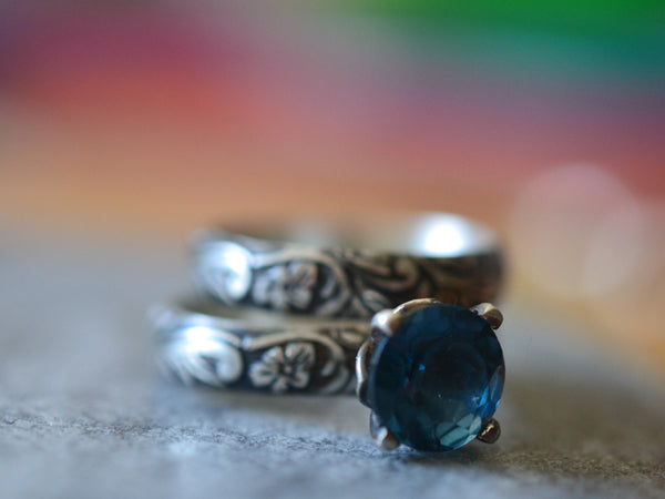 Oxidised Floral Silver Bridal Ring Set With London Blue Topaz