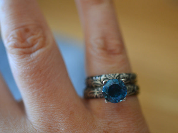 8mm London Blue Topaz Solitaire Ring & Oxidised Wedding Band