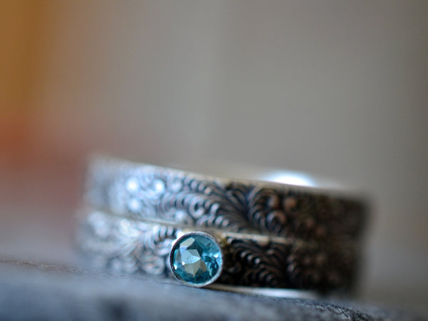 Gothic Scroll Wedding Band & Apatite Engagement Ring in Silver