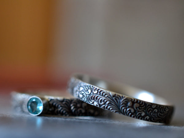 Natural Apatite Engagement Ring & Oxidised Wedding Band