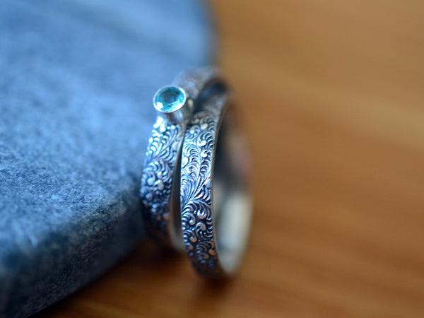 Gothic Oxidised Silver & Apatite Bridal Ring Set For Women
