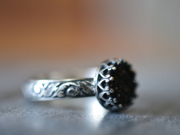 Black Druzy Statement Ring in Gothic Oxidised Silver