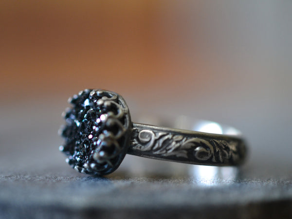 Oxidised Floral Silver & Black Druzy Agate Cocktail Ring