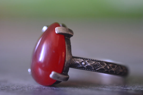 Teardrop Carnelian Ring in Oxidised Sterling Silver