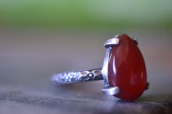 Natural Red Carnelian Crystal Ring in Oxidised Floral Silver