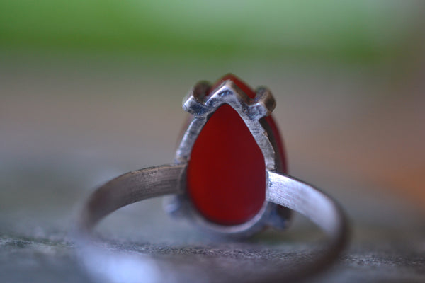 Pear Shape Carnelian Crystal Ring in Gothic Oxidised Silver