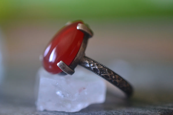 Women's Large Teardrop Carnelian Statement Ring in Silver