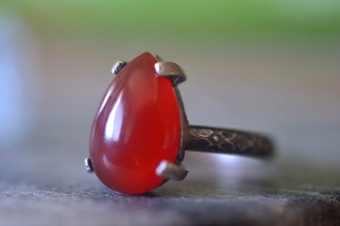 Women's Gothic Carnelian Gemstone Statement Ring in Silver