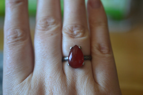 Pear Carnelian Statement Ring in Antiqued Sterling Silver