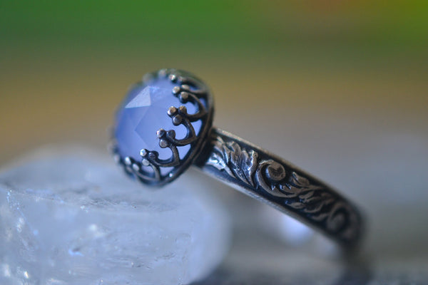 Womens Gothic Chalcedony Gemstone Ring in Oxidised Silver