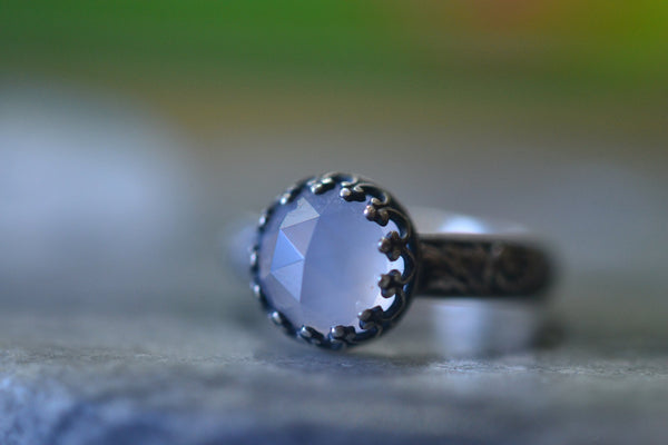 Natural Chalcedony Crystal Ring in Oxidised Sterling Silver