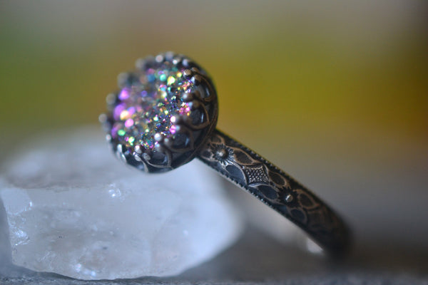 Gothic Rainbow Druzy Agate Crystal Ring in Oxidised Silver