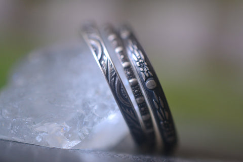 Gothic Oxidised Silver Patterned Stacking Ring Set