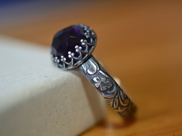 Gothic Oxidized Floral Silver Amethyst Engagement Ring