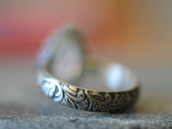 Custom Engraved Flower Pattern Rainbow Moonstone Teardrop Ring