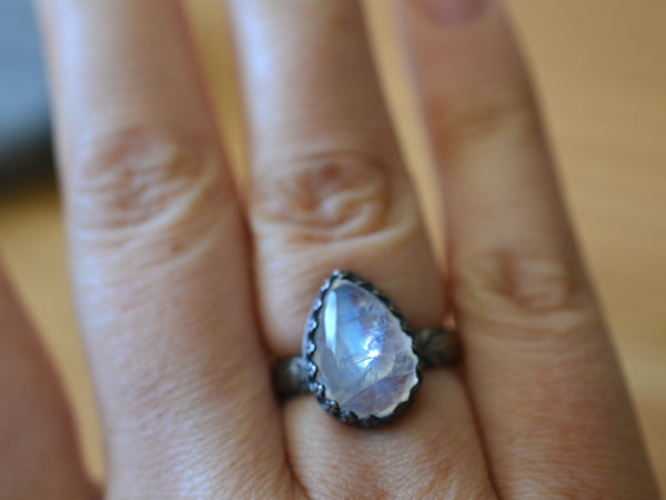Natural Teardrop Rainbow Moonstone Ring for Women in Silver