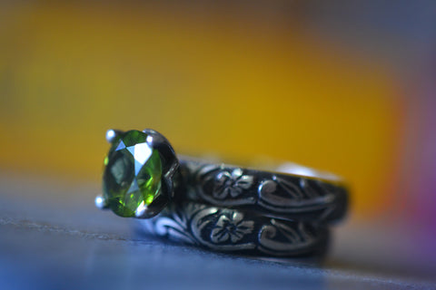 Gothic Women's Peridot Bridal Ring Set in Oxidised Silver