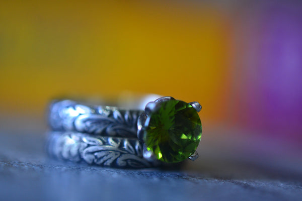 Customised Peridot Bridal Ring Set In Gothic Oxidised Silver