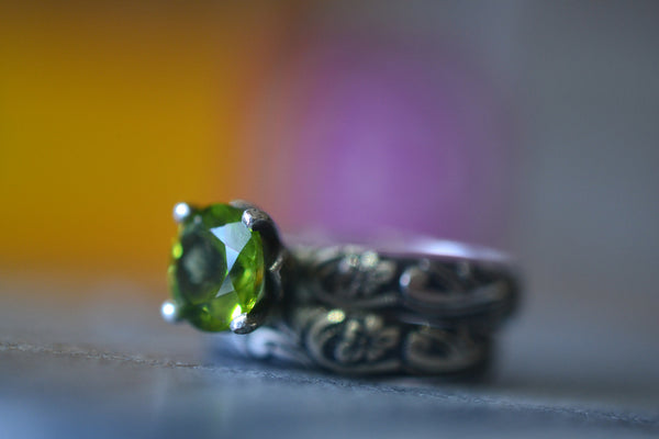 Personalised Faceted Peridot Solitaire Engagement Ring Set