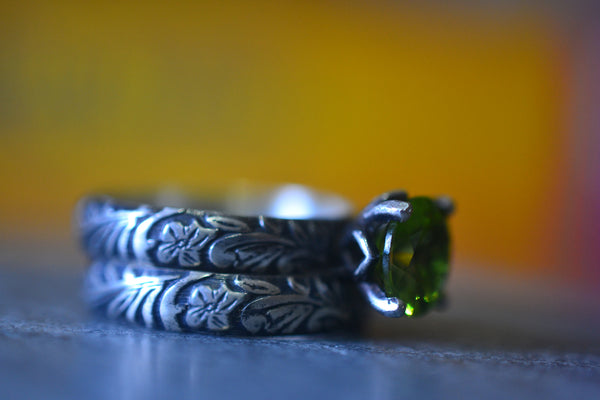 Handcrafted Oxidised Silver & Natural Peridot Wedding Ring Set