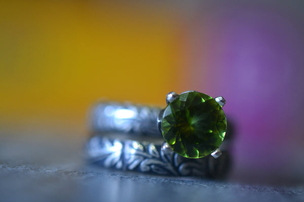 Women's Natural Green Peridot Bridal Ring Set in Oxidised Silver