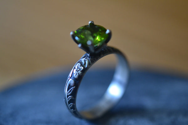 Handcrafted Peridot Engagement Ring With Oxidised Silver Finish