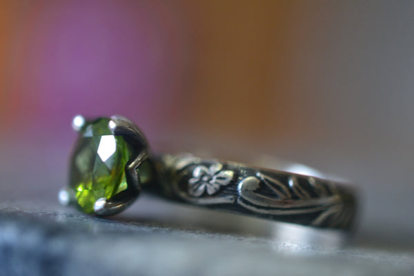 Green Peridot Solitaire Engagement Ring With Gothic Finish