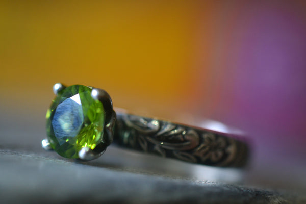 Women's Natural Green Crystal Engagement Ring in Oxidised Silver