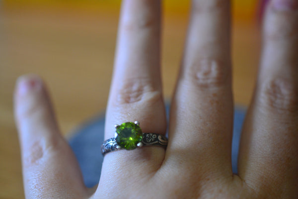 Natural Green Peridot Crystal Engagement Ring in Oxidised Silver