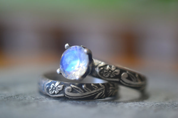 Natural Rainbow Moonstone Bridal Ring Set in Oxidised Silver