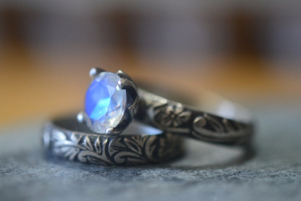 Gothic Women's Rainbow Moonstone Engagement Ring Set