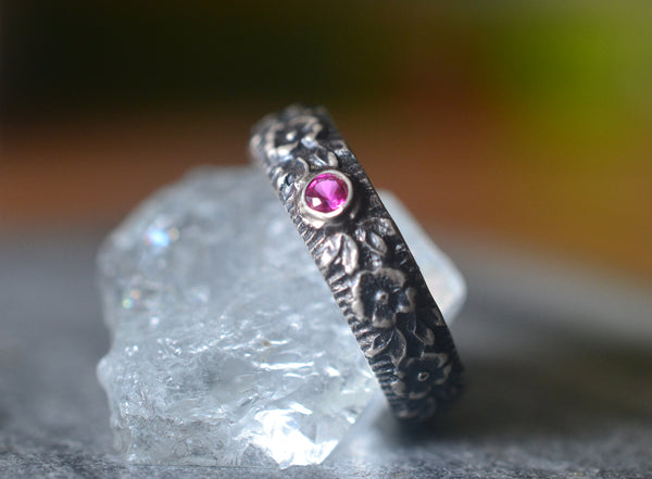 Mens Gothic Ruby Wedding Band With Roses in Sterling Silver