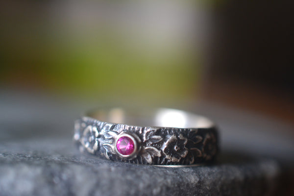 Personalised Gothic Rose Wedding Ring With Lab Created Ruby