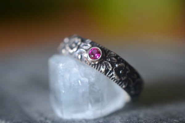 Handmade Oxidised Silver Roses Wedding Ring With Tiny Ruby