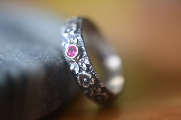 Mens Gothic Wedding Band With Roses & Inset Ruby Crystal