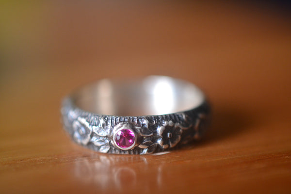 Personalised Wild Rose Wedding Band With Inset Ruby Gemstone
