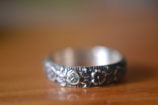 Natural White Topaz Gemstone Wedding Band With Roses
