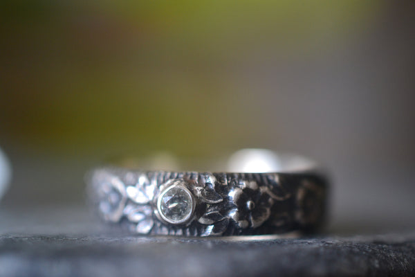 Natural White Topaz Wedding Band With Gothic Rose Pattern