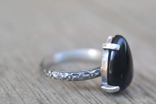 Gothic Floral Black Onyx Ring in Oxidised Silver