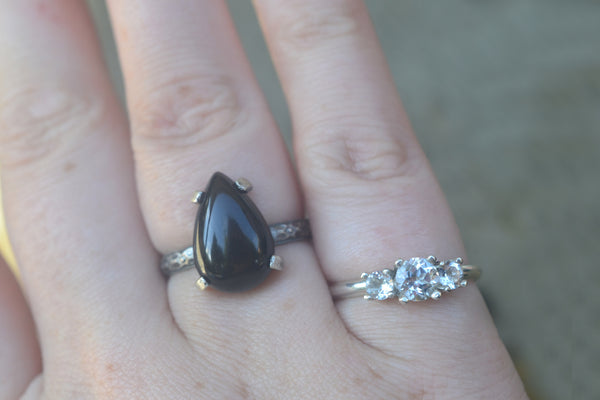 Women's Victorian Style Pear Black Onyx Cocktail Ring