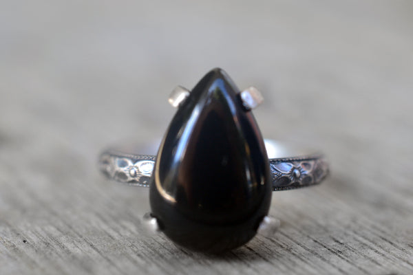 Large Black Onyx Crystal Statement Ring in Oxidised Silver