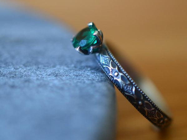 Personalised Emerald Engagement Ring in Oxidized Sterling Silver