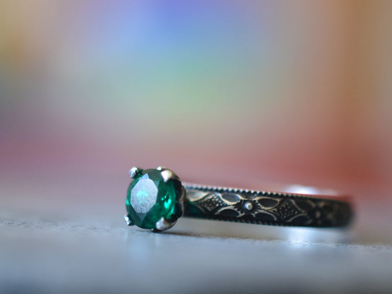 Gothic Oxidised Silver Emerald Engagement Ring