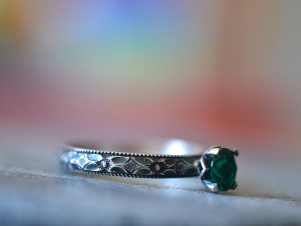 Gothic Oxidised Silver & Lab Created Emerald Engagement Ring